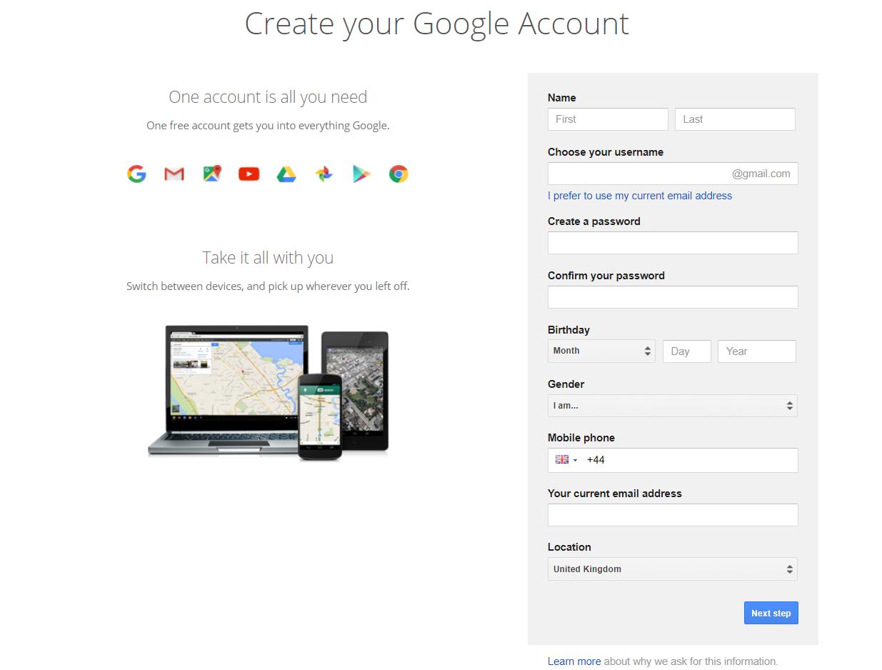 Google account set up page | HollyPryce.com