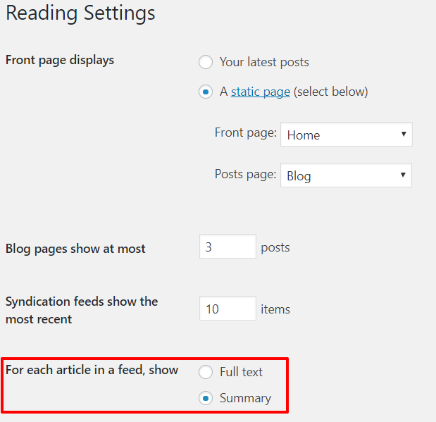 Settings to show summary of blog post in feed | HollyPryce.com