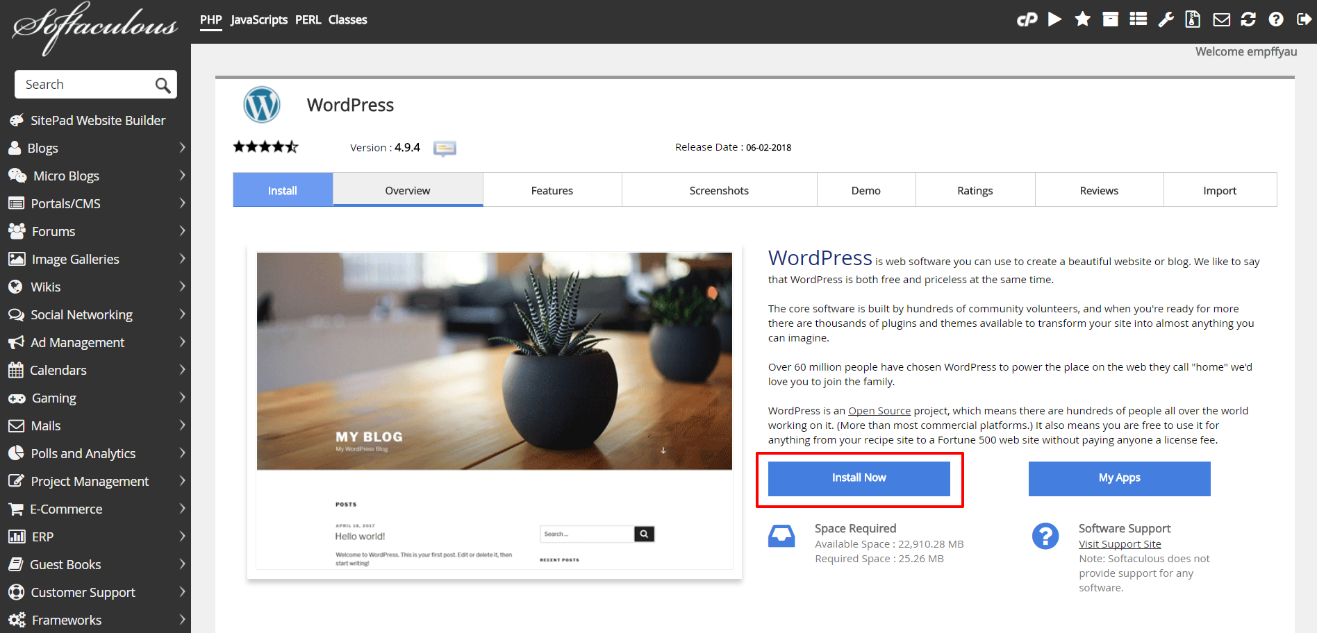 WordPress in Softaculous | HollyPryce.com