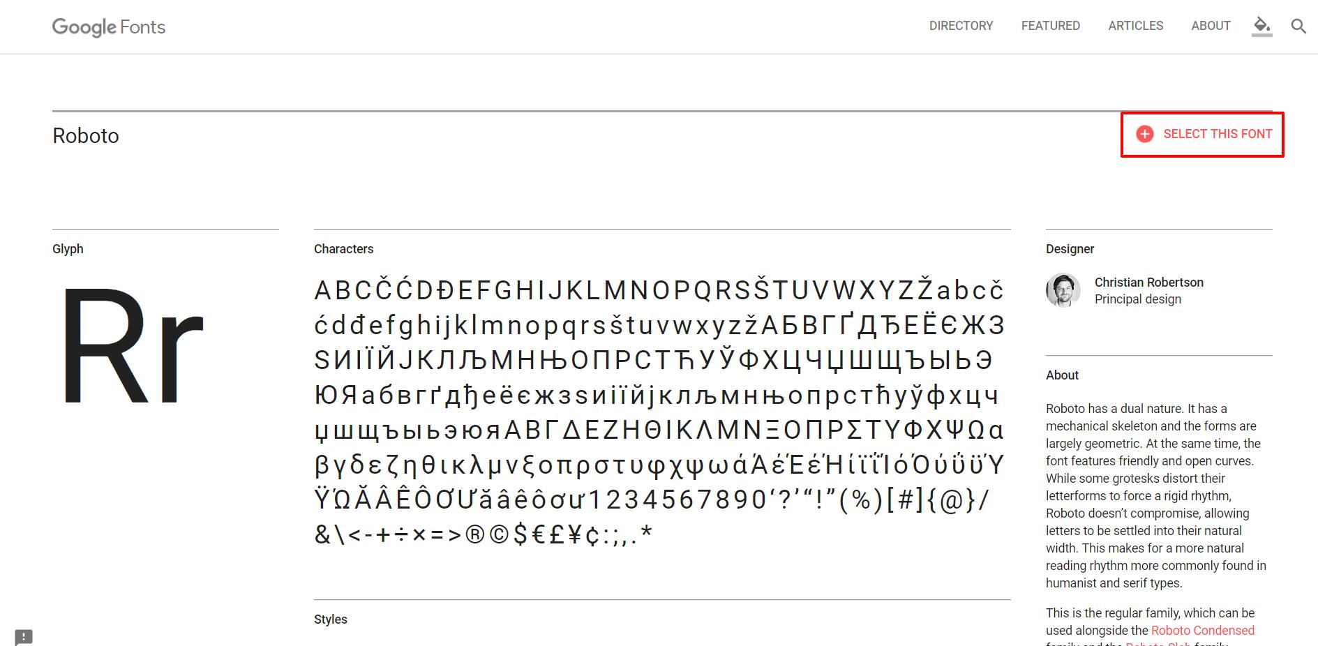 Google Font select font | HollyPryce.com