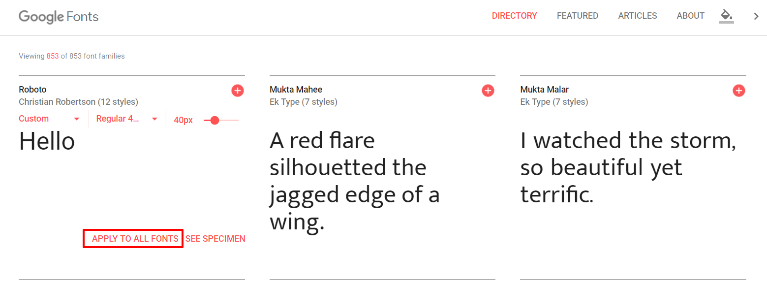 Google Fonts previewing font | HollyPryce.com
