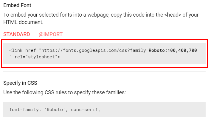 Google Fonts styles code | HollyPryce.com