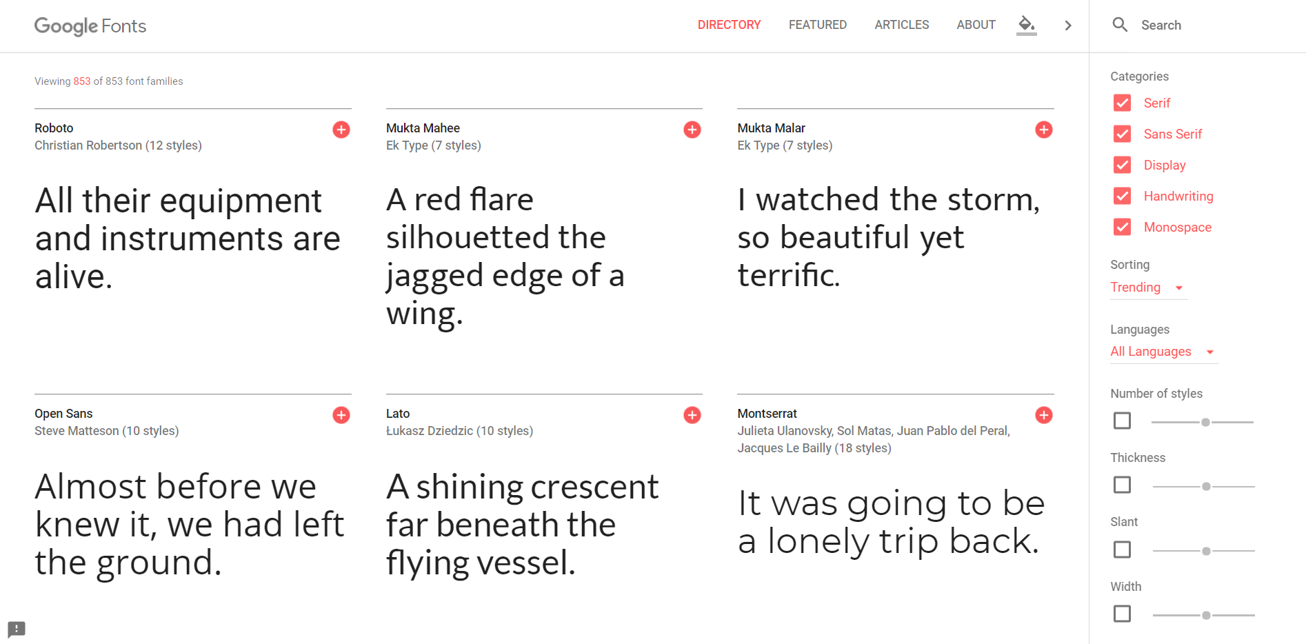 Google Fonts homepage | HollyPryce.com