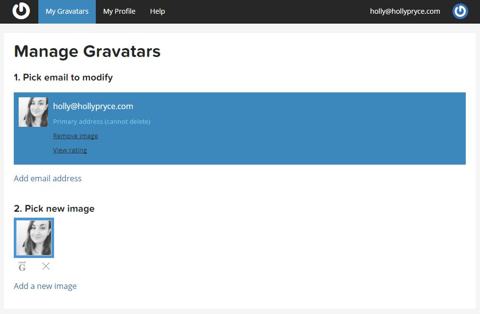 Manage Gravatars | HollyPryce.com