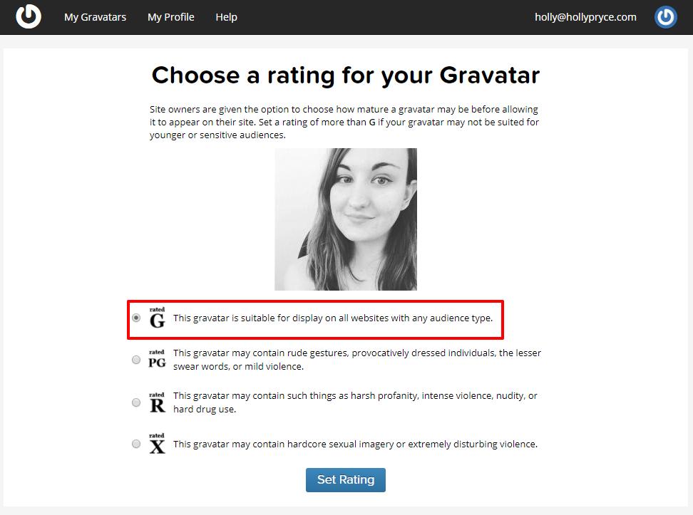 Gravatar image rating | HollyPryce.com
