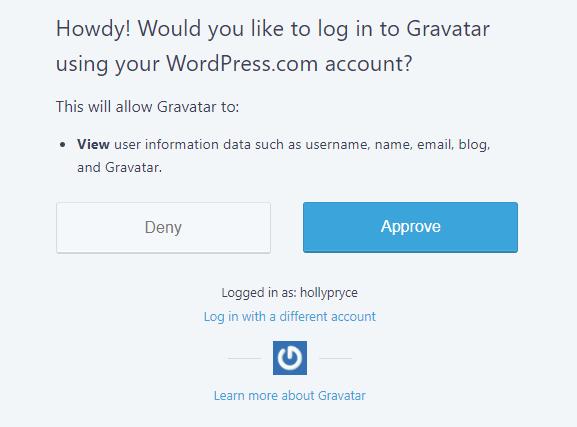 Approve WordPress.com access for Gravatar | HollyPryce.com