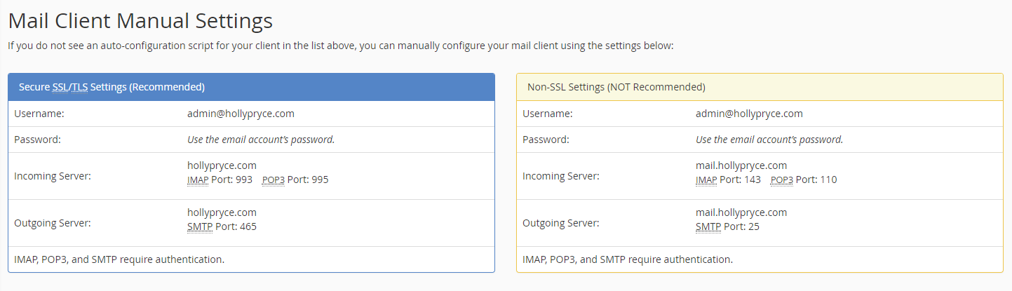 Mail client settings in cPanel | HollyPryce.com