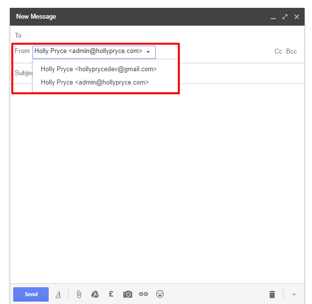 Choosing an email address in Gmail | HollyPryce.com
