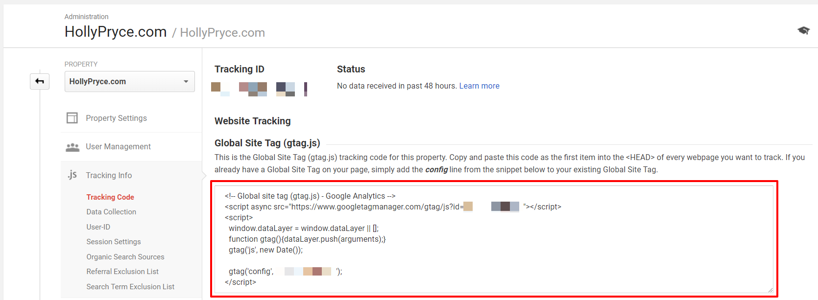 Google Analytics code | HollyPryce.com