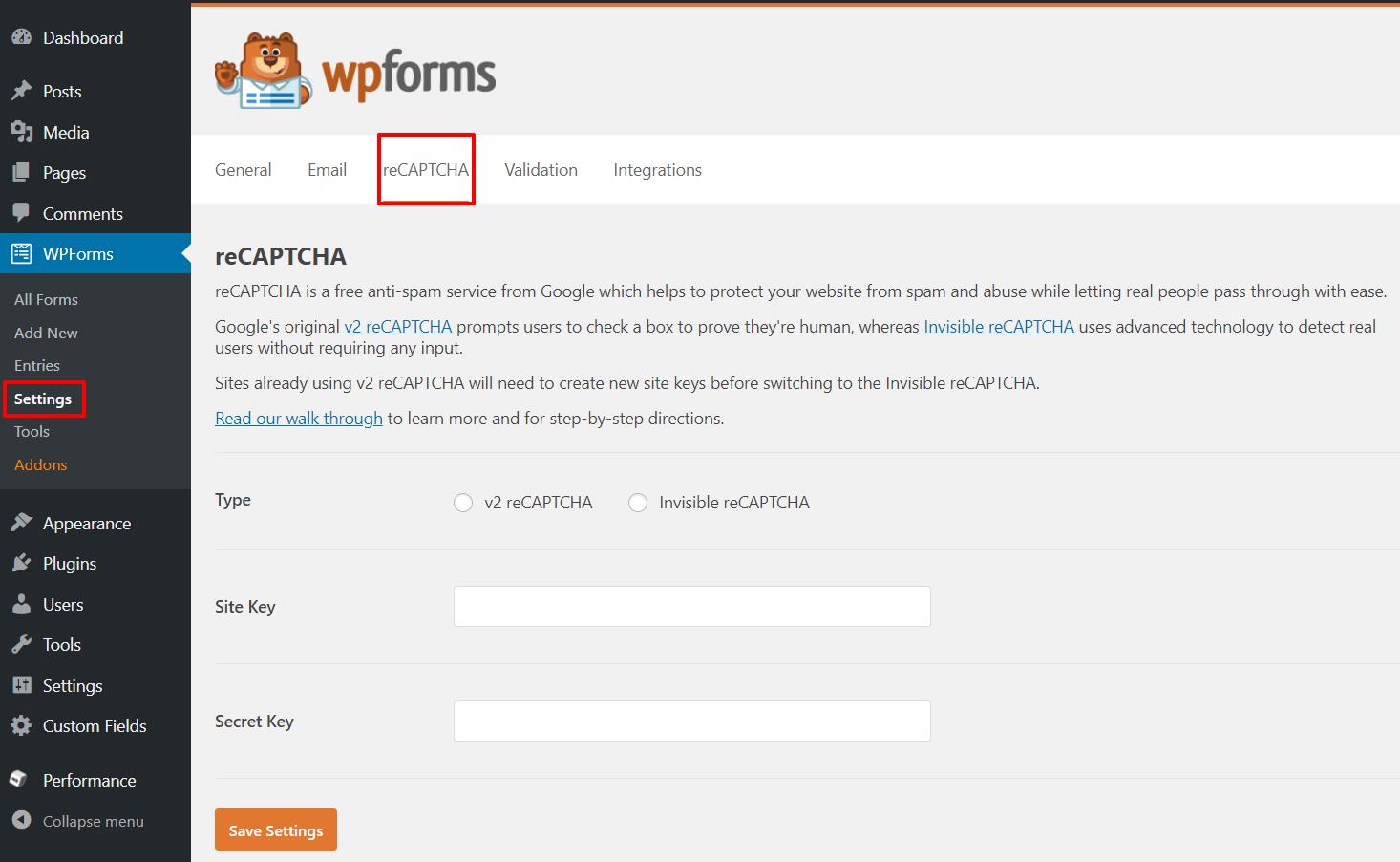 reCAPTCHA settings | HollyPryce.com