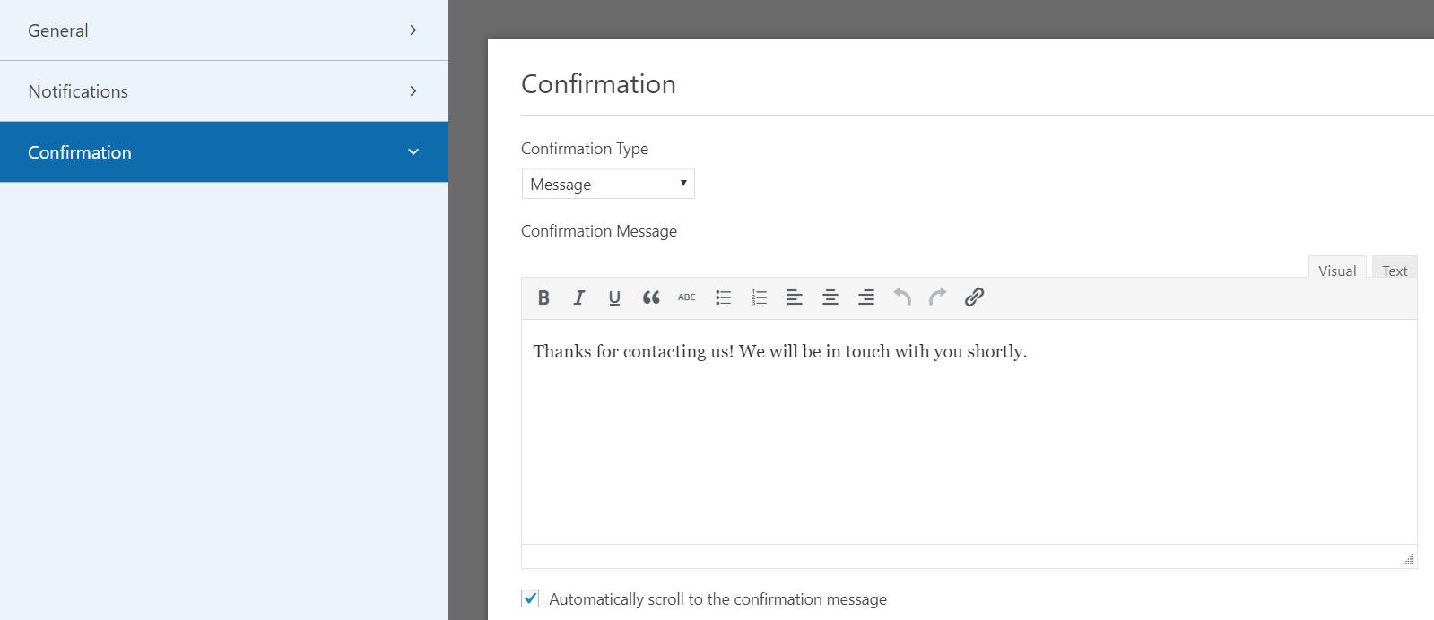 WPForms confirmations settings | HollyPryce.com