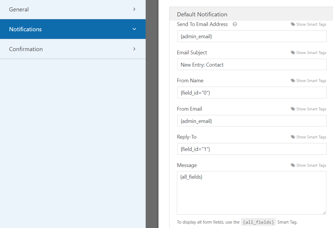 WPForms notifications settings | HollyPryce.com