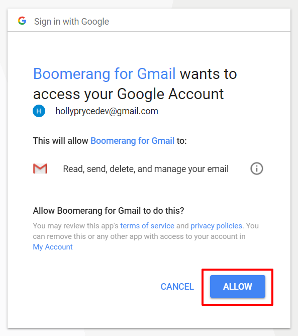 Boomerang for Gmail allow access | HollyPryce.com