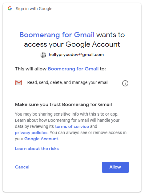 Authenticate Boomerang for Gmail | HollyPryce.com