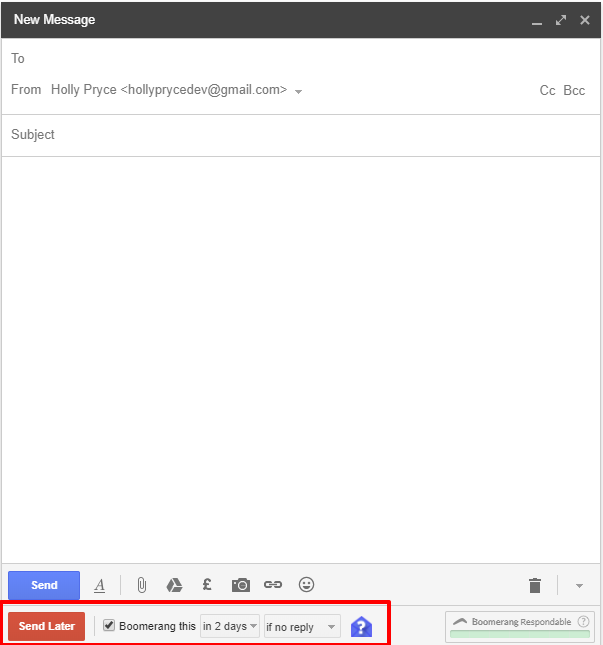 Boomerang for Gmail in new message | HollyPryce.com