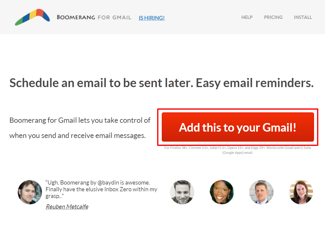 Boomerang for Gmail homepage | HollyPryce.com