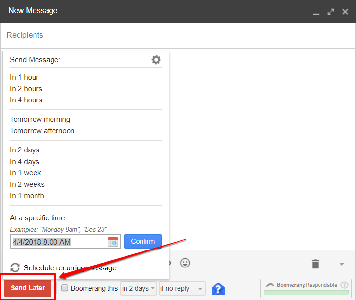 Boomerang for Gmail send later | HollyPryce.com
