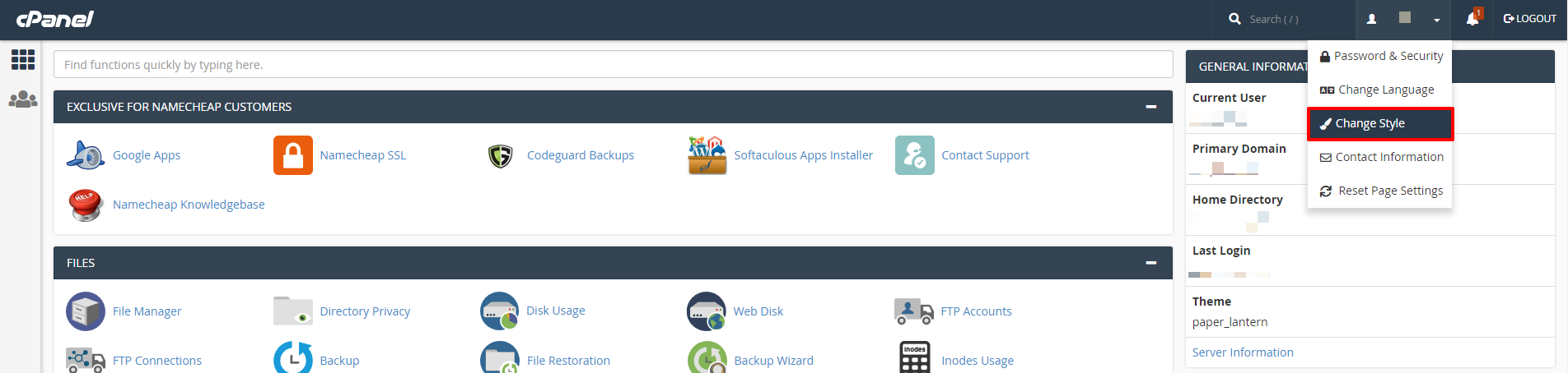 cPanel change style | HollyPryce.com