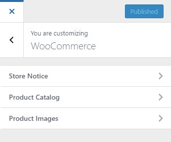 WooCommerce options in the WordPress Customise section | HollyPryce.com