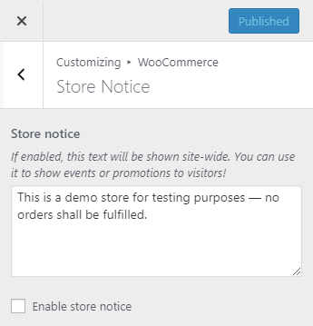 WooCommerce store notice | HollyPryce.com