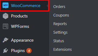 WooCommerce in WordPress menu | HollyPryce.com