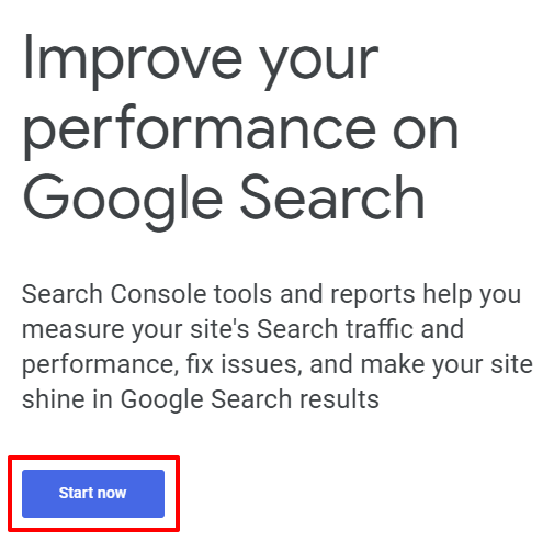 Google Search Console start now button | HollyPryce.com