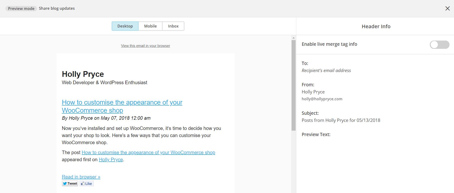 MailChimp preview email | HollyPryce.com