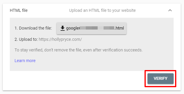 Verify your website ownership in Google Search Console | HollyPryce.com