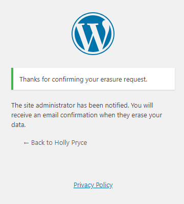 Erase Personal Data tool in WordPress | HollyPryce.com
