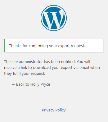 Export Personal Data tool in WordPress | HollyPryce.com