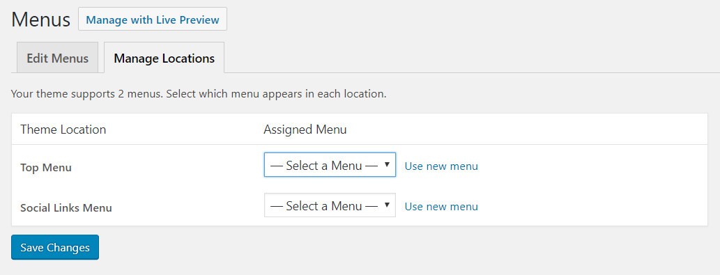 Manage locations tab on the WordPress menus page | HollyPryce.com