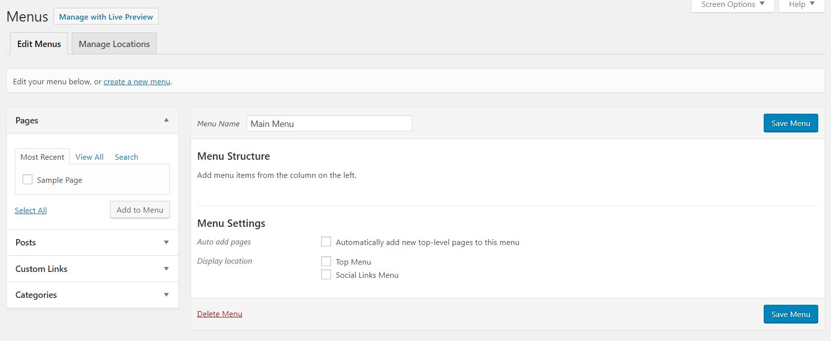 WordPress menus page | HollyPryce.com