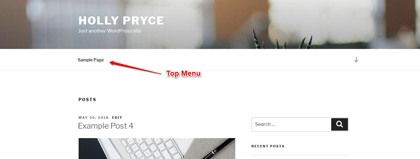 Top Menu is the WordPress Twenty Seventeen theme | HollyPryce.com
