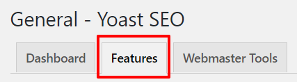Features tab in Yoast SEO settings | HollyPryce.com
