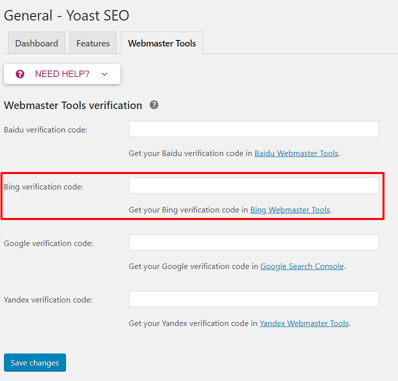 Bing verification code in Yoast SEO | HollyPryce.com