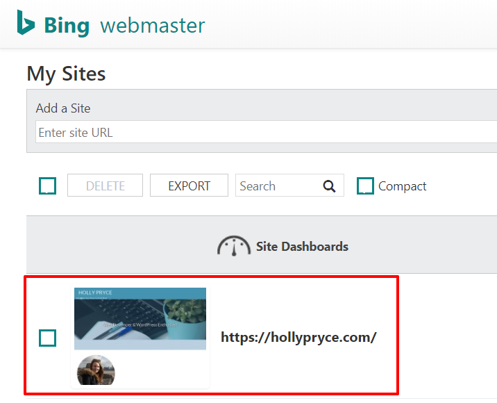 My Sites in Bing Webmaster Tools | HollyPryce.com
