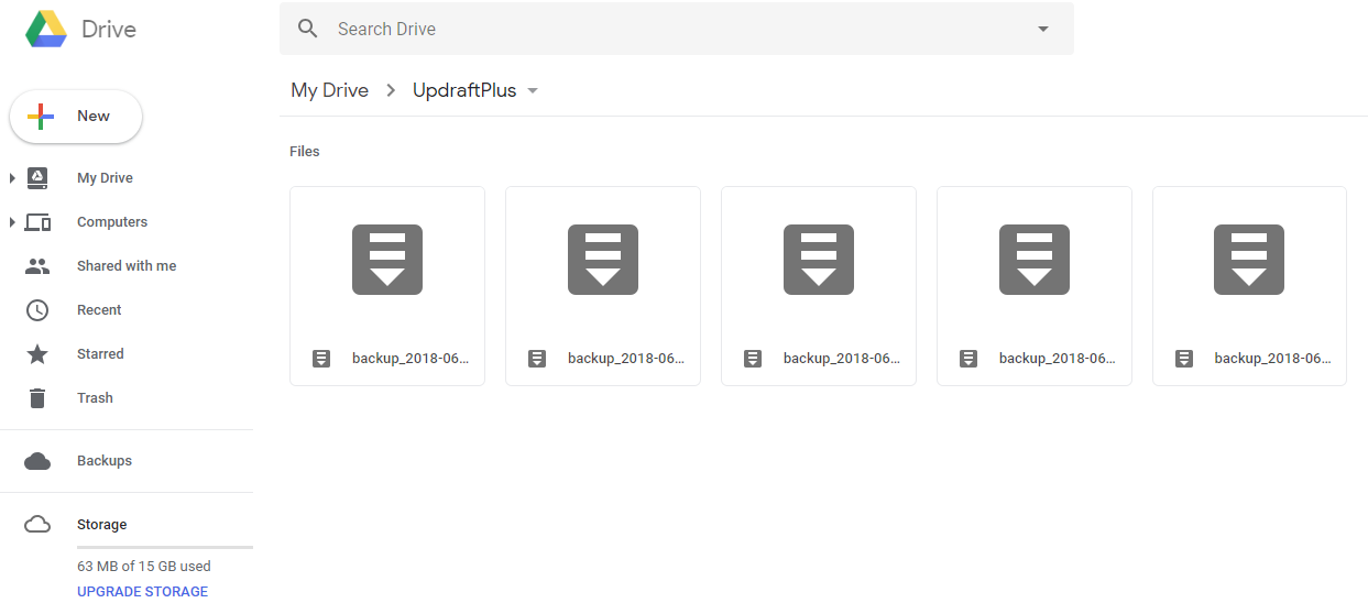 UpdraftPlus in Google Drive | HollyPryce.com