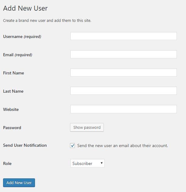Add new user form in WordPress | HollyPryce.com
