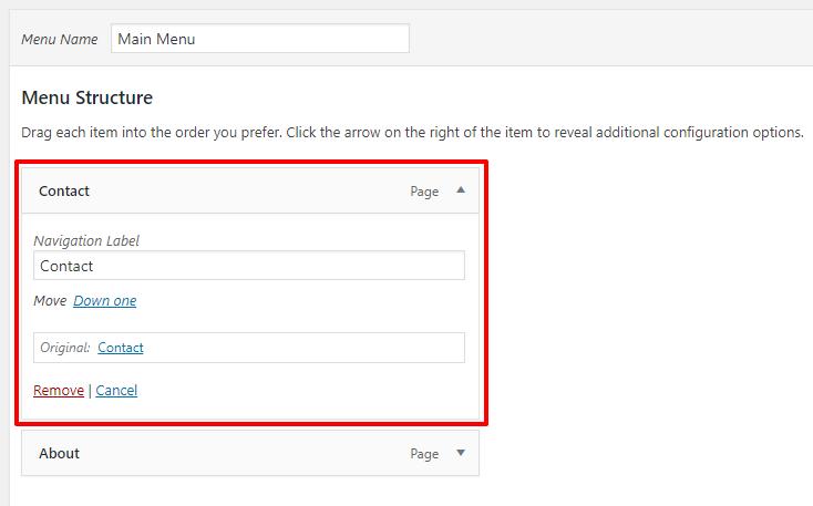 Edit menu item in WordPress | HollyPryce.com