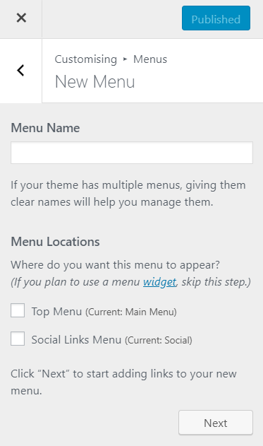 Create a menu via the Customise page in WordPress | HollyPryce.com
