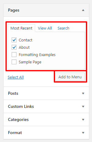 Add pages to a menu in WordPress | HollyPryce.com