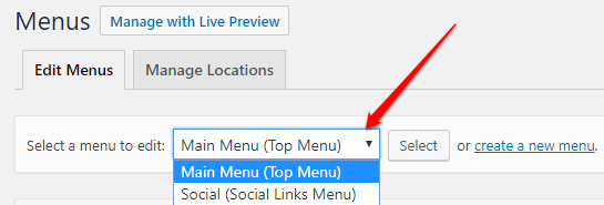 Choose a menu to edit in WordPress | HollyPryce.com