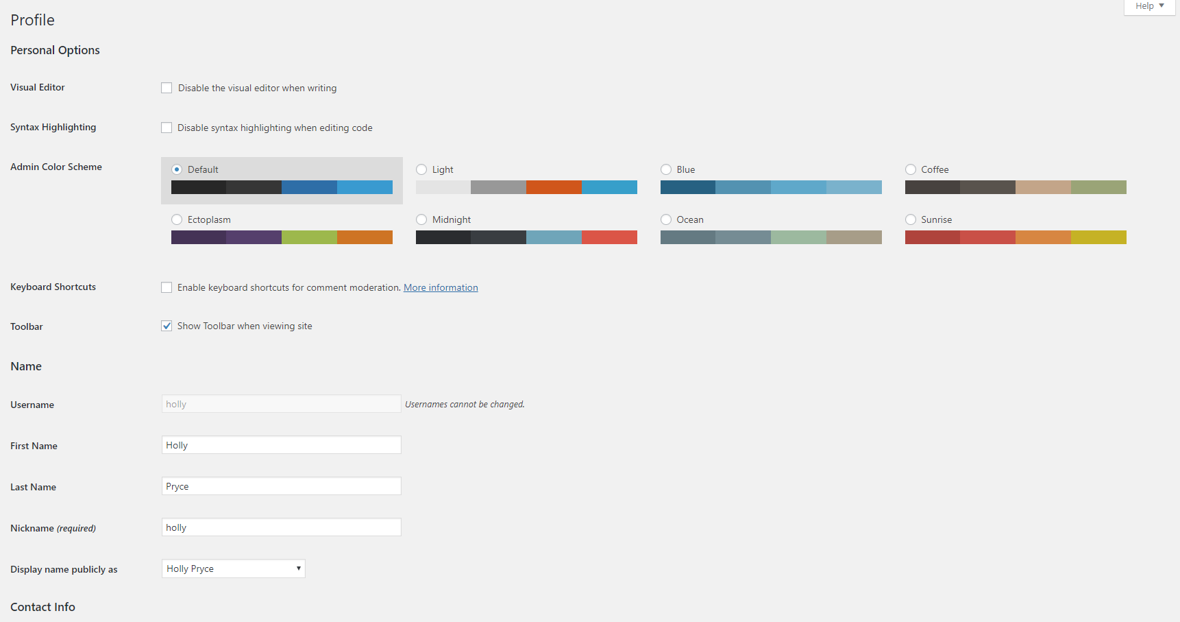User profile in WordPress | HollyPryce.com
