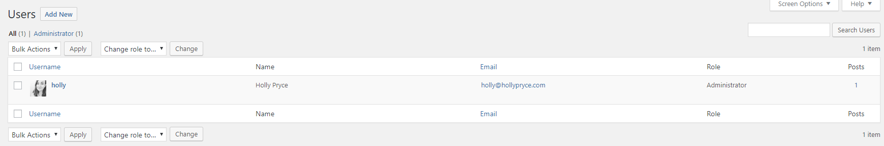 List of users in WordPress | HollyPryce.com
