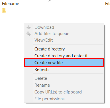 Creating a new file in FileZilla | HollyPryce.com