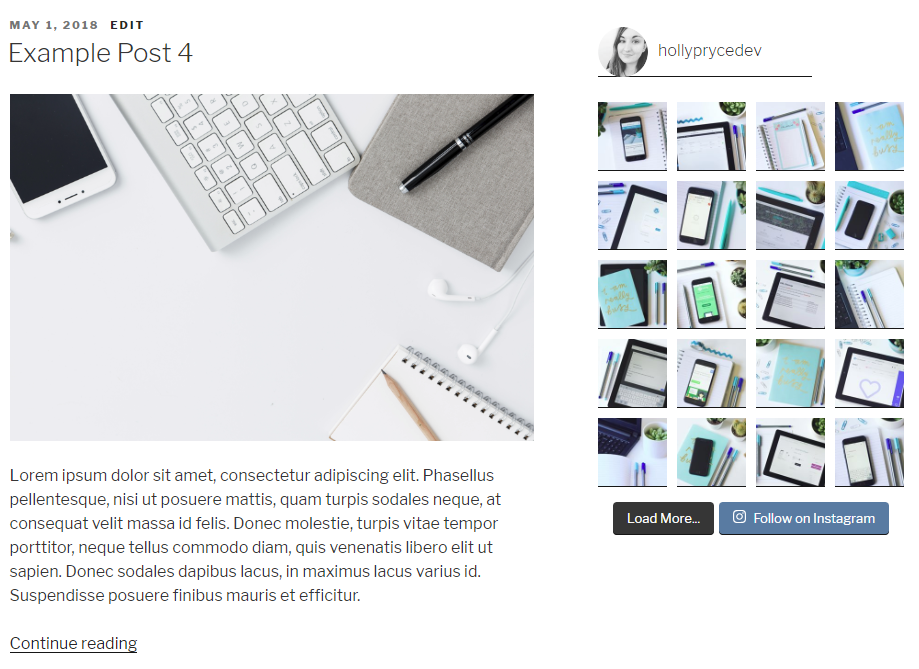 Instagram feed in sidebar | HollyPryce.com
