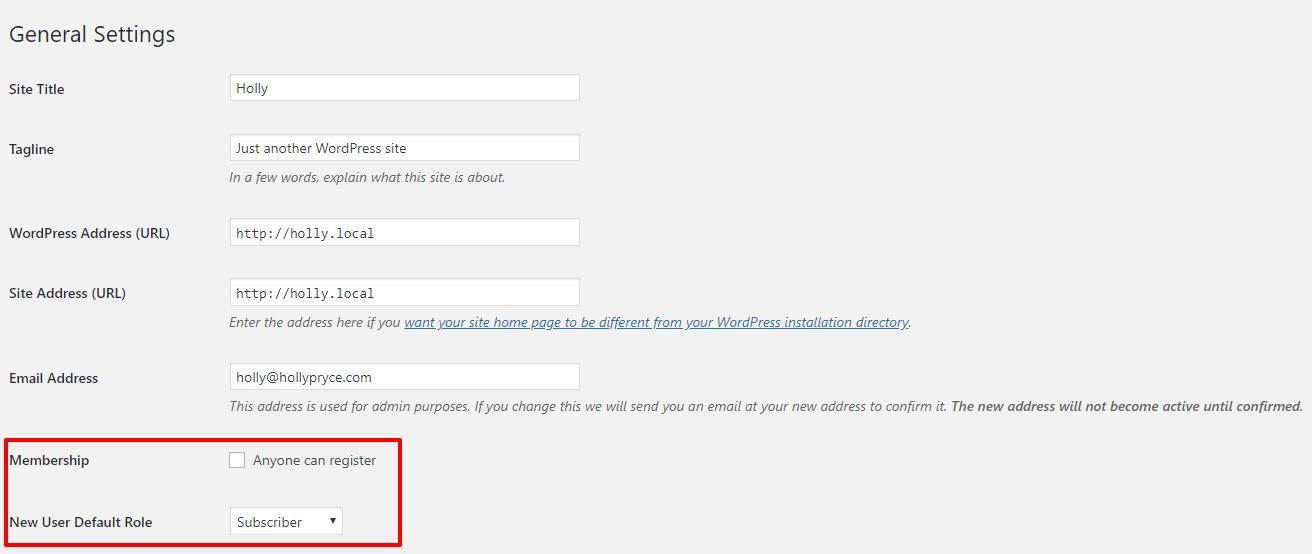 Membership settings in WordPress | HollyPryce.com
