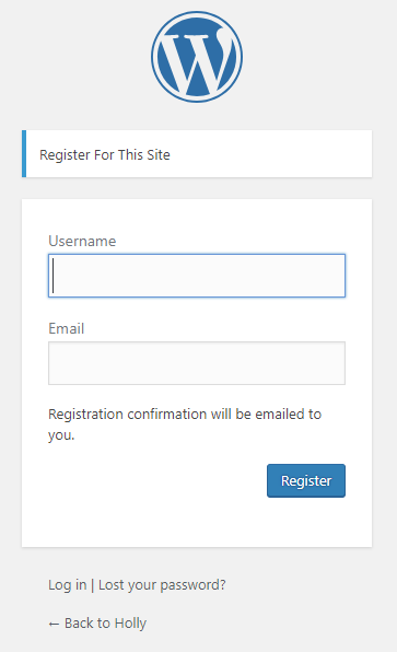 WordPress register | HollyPryce.com