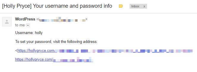 WordPress user password email | HollyPryce.com