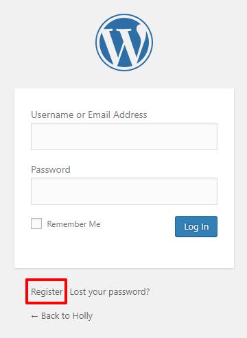 WordPress login with register link | HollyPryce.com